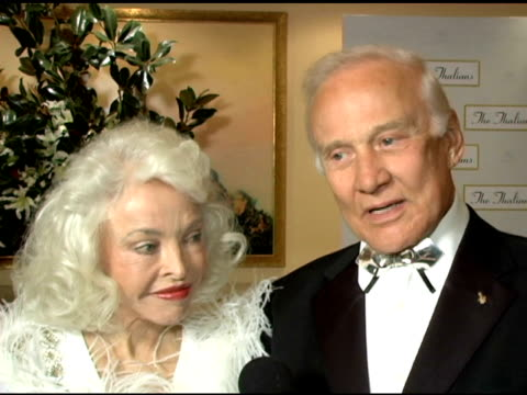 buzz and lois aldrin on why they support the thalians at the 50th anniversary of the thalians at the century plaza hotel in century city california... - thalians annual ball stock videos & royalty-free footage