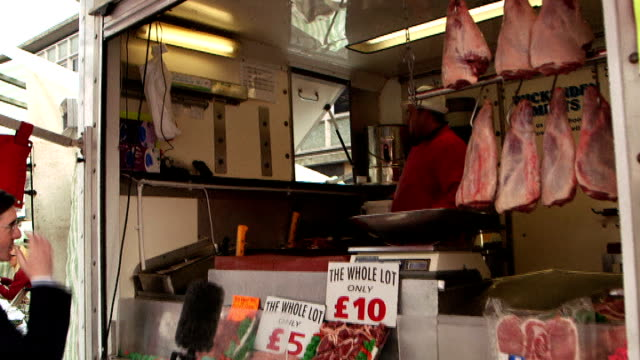 bvs reporter and reesmogg along through market setup shots of ukip convert martin wilmott posing by his cab what attracts you to ukip martin wilmott... - underwear stock videos & royalty-free footage