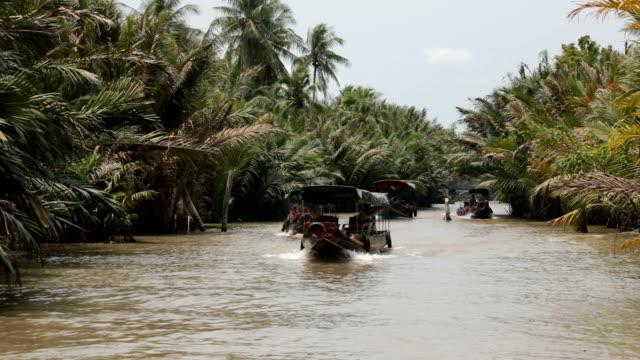 vídeos y material grabado en eventos de stock de by boat along the channels of the mekong delta, ben tre, vietnam - vietnam