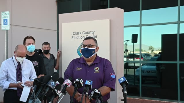 by clark county registrar of voters joe gloria as he discusses ballot counting at a news conference at the clark county election department on... - clark county nevada stock videos & royalty-free footage