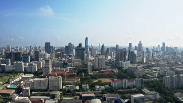 aerial by drone, ws ha bangkok skyline at daytime / bangkok, thailand - leicester stock videos & royalty-free footage
