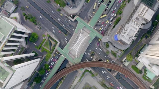aerial by drone, ws ha bangkok skyline at daytime / bangkok, thailand - leicestershire stock videos & royalty-free footage