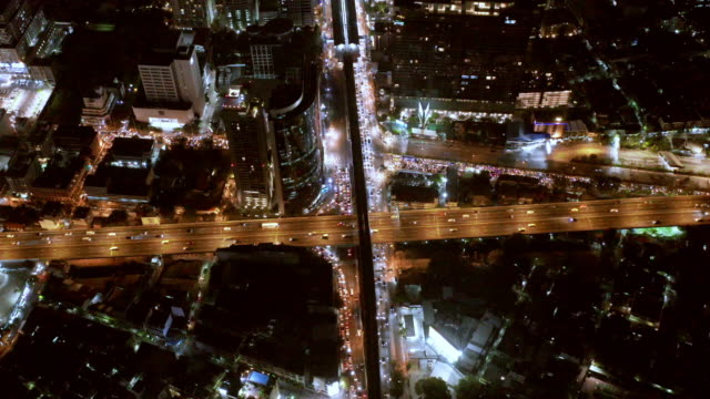 aerial by drone, ws ha bangkok skyline at night / bangkok, thailand - leicester stock videos & royalty-free footage