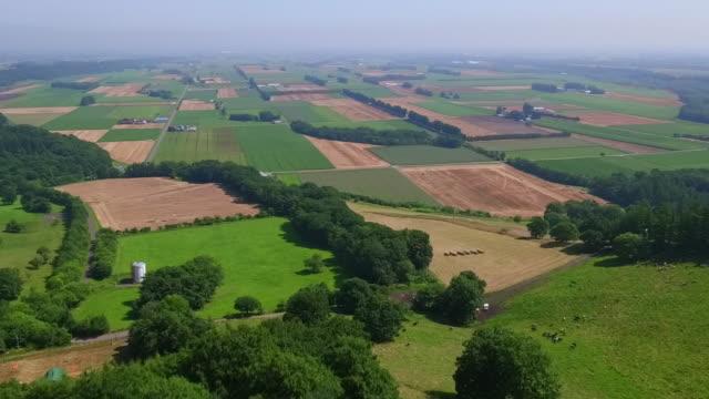 aerial by drone, tokachi plain, hokkaido, japan - patchwork stock videos & royalty-free footage
