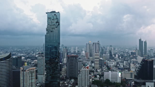 aerial by drone, ws ha view of king power mahanakhon / bangkok, thailand - bangkok stock videos & royalty-free footage