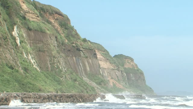 vidéos et rushes de byobugaura cliffs on kujukuri beach, chiba, japan - érodé