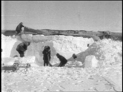 byrd's crew shoveling snow to build igloo in little america, antarctica / documentary - 1920 1929 stock videos & royalty-free footage