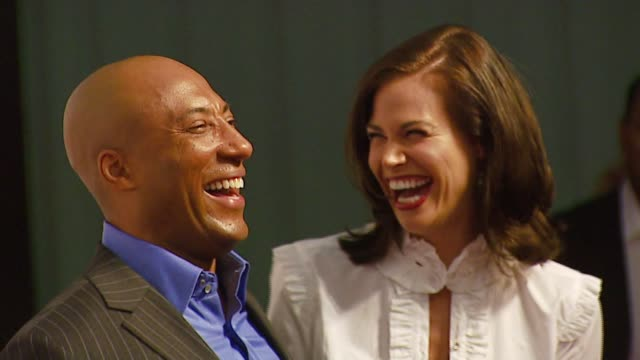byron allen and brooke burns at the 'comics unleashed' launch party at sunset gower studios in los angeles, california on september 25, 2006. - brooke burns stock videos & royalty-free footage