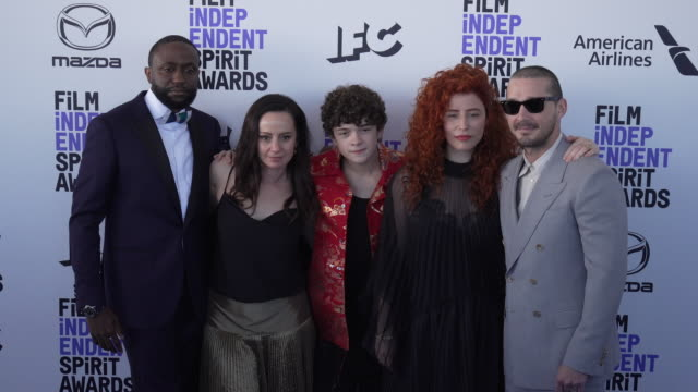 byron bowers shia labeouf alma har'el noah jupe natasha braier at the 2020 film independent spirit awards on february 08 2020 in santa monica... - film independent spirit awards stock videos & royalty-free footage