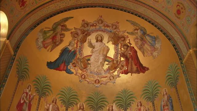 ms td byzantine style deesis mural in throne room in neuschwanstein castle, bavaria, germany - ancient stock videos & royalty-free footage