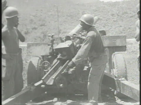 korean war us marines vs united states marines by m4 sherman tank artillery regiment firing cannons explosions along fields hills 38th parallel korea... - parallel stock videos & royalty-free footage