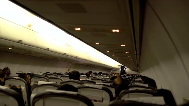 cabin at night flight (hd) - vehicle interior stock videos & royalty-free footage