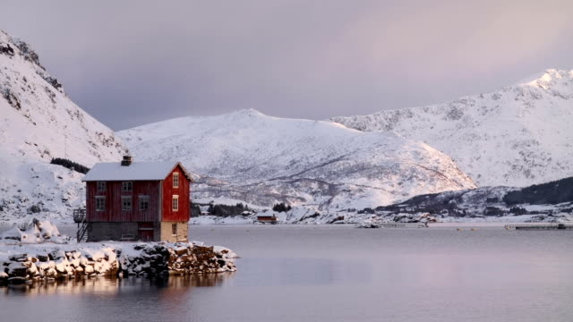 Cabin at Winter Coastline