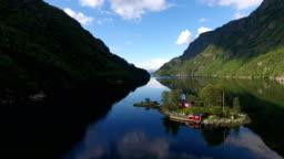 Cabin on island in Norwegian Fjord