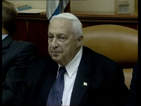 cabinet approves peace process roadmap 1300 dan jerusalem ariel sharon sitting in cabinet meeting with ministers - ariel sharon stock videos and b-roll footage