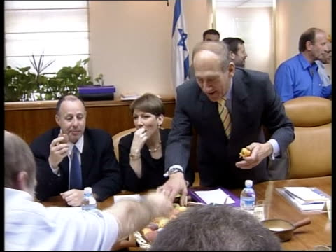 cabinet approves peace process roadmap pool jerusalem ariel sharon sitting in cabinet meeting zoom in israeli cabinet members sitting in meeting at... - ariel sharon stock videos and b-roll footage