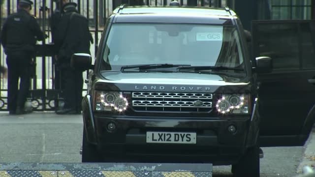 vídeos y material grabado en eventos de stock de cabinet arrivals and departures at 10 downing street england london downing street no10 ext arrival car being checked by security / baroness stowell... - amber smith