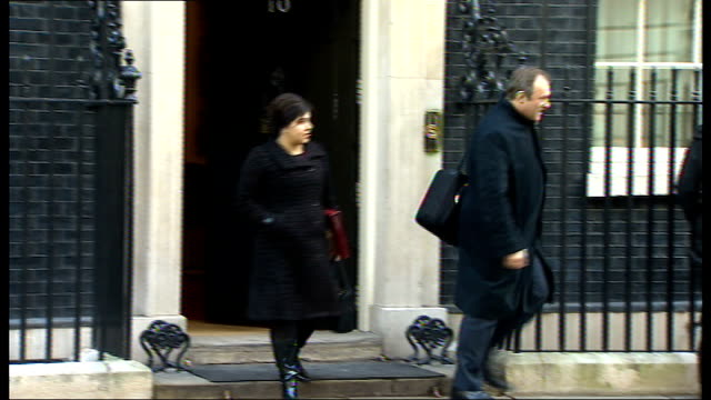 cabinet arrivals and departures at downing street departures patrick mcloughlin and others departing / vince cable sir george young departing /... - sir george young politician stock videos and b-roll footage