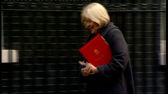 cabinet arrivals andrew lansley mp caroline spelman mp and sir george young mp arriving together / kenneth clarke mp arriving / eric pickles mp... - sir george young politician stock videos and b-roll footage