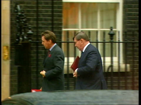 Cabinet arrivals at Downing Street ENGLAND London Downing Street EXT GVS cabinet arrivals including / Lord McDonald out of car into no 10 / Alan...