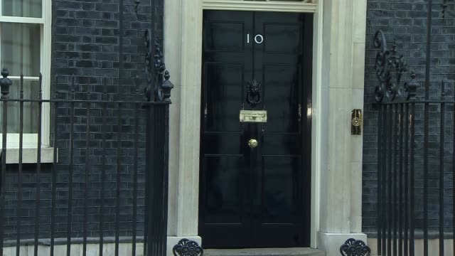 london downing street ext larry the cat sat on doorstep og number 10 as greg clark mp arrives for cabinet meeting / boris johnson mp arriving / karen... - priti patel stock-videos und b-roll-filmmaterial