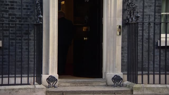 cabinet arrivals cabinet arrivals england london downing street liam fox mp with amber rudd mp enter doorway with james brokenshire mp / karen... - andrea leadsom stock-videos und b-roll-filmmaterial