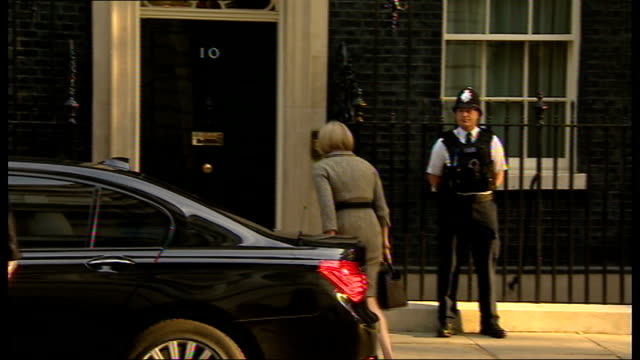 cabinet arrivals; england: london: downing street: ext baroness stowell out of car and arriving at number 10 / larry the cat along and entering no.... - welsh culture stock videos & royalty-free footage