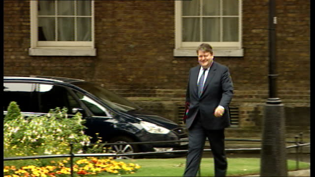 london downing street ext eric pickles mp arriving / lord strathclyde arriving / unidentified man arriving / desmond swayne mp arriving / george... - dominic grieve stock videos and b-roll footage