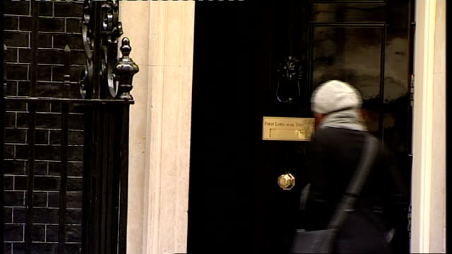 london downing street ext john healey mp along as into number 10 / car arrives as john denham mp out of car and away into number ten / baroness... - hilary benn stock-videos und b-roll-filmmaterial
