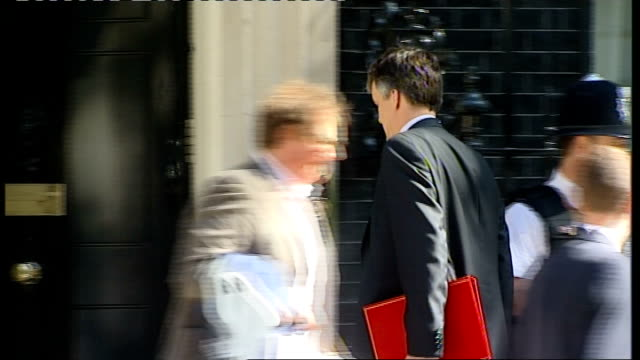 london downing street ext ken clarke mp out of car and into number 10/ sir george young mp along and into number 10/ michael moore mp along and into... - liam fox politician stock videos and b-roll footage