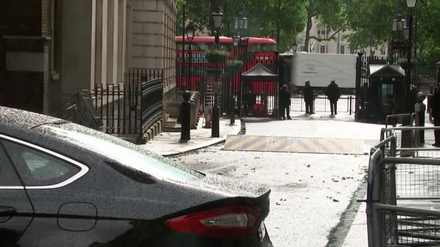 london downing street ext ministers along and into 10 downing street / patrick mcloughlin mp and tina stowell along / elizabeth truss mp out of car... - patrick mcloughlin stock videos and b-roll footage