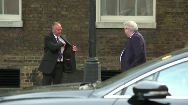 cabinet arrivals; england: london: downing street: ext police officers on downing street / chris grayling mp / karen bradley mp / patrick mcloughlin... - david m. davis politician stock videos & royalty-free footage