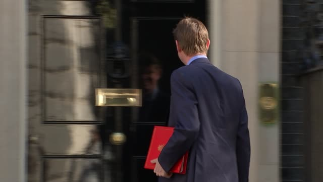 london downing street ext ruth davidson msp and david mundell mp arriving / patrick mcloughlin mp arriving / greg clark mp arriving / sajid javid mp... - patrick mcloughlin stock videos and b-roll footage