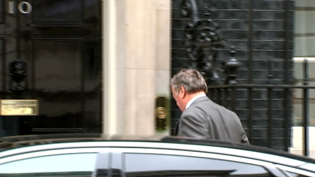 london downing street ext theresa villiers mp along / sajid javed mp arriving / dominic grieve mp arriving / patrick mcloughlin mp arriving / lord... - sir george young politician stock videos and b-roll footage