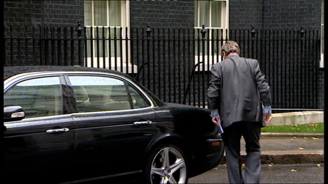 london downing street number 10 ext eric pickles mp arriving / kenneth clarke mp arriving in car / dominic grieve arriving / lord strathclyde mp... - sir george young politician stock videos and b-roll footage