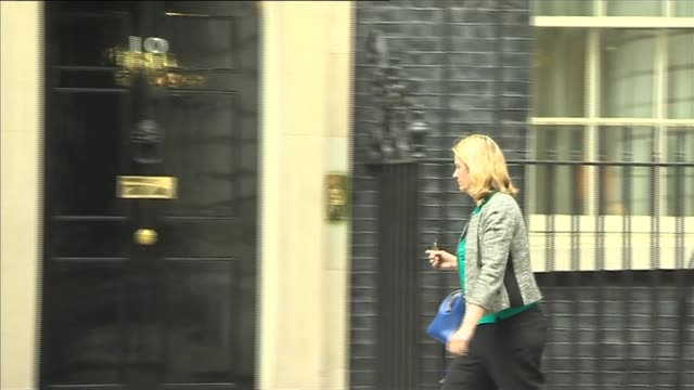 vídeos y material grabado en eventos de stock de london ext sajid javid mp arrival at downing street / priti patel mp arrival / amber rudd mp arrival / michael gove mp arrival / nicky morgan mp... - amber smith