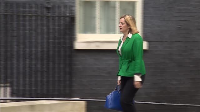 vídeos y material grabado en eventos de stock de london ext theresa villiers mp arrival / david mundell mp arrival with john whittingdale mp / amber rudd mp arrival / michael fallon mp arrival /... - amber smith