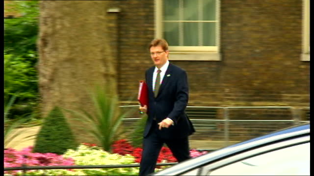 london westminster ext lord young arriving at number ten / william hague mp along / sir george young mp along / jeremy hunt mp / car along / david... - sir george young politician stock videos and b-roll footage