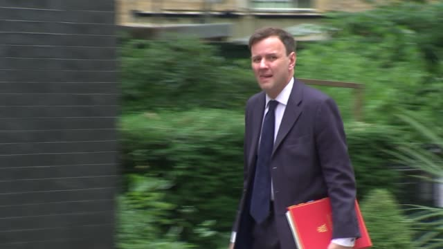 cabinet arrivals sajid javid mp arriving followed by john whittingdale mp and amber rudd mp / greg hands mp arriving followed by jeremy hunt mp /... - welsh culture stock videos & royalty-free footage
