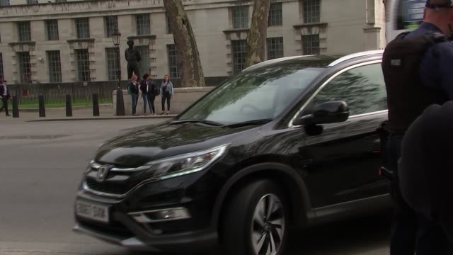 cabinet arrivals - whitehall gates; england: london: westminster: whitehall: ext various cars arriving / andrea leadsom mp arriving / amber rudd mp... - welsh culture stock videos & royalty-free footage