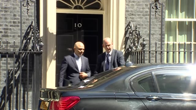 cabinet clashes over defence spending england london downing street ext sajid javid mp departing number 10 and along into car as reporter heard... - sajid javid stock videos & royalty-free footage
