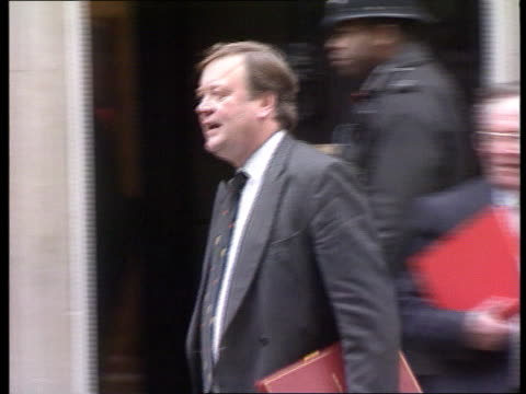 Cabinet decision on public spending cuts ITN LIB John MacGregor MP and Kenneth Clarke MP out of No 10 door as Clarke along MS SIDE Peter Lilley MP...