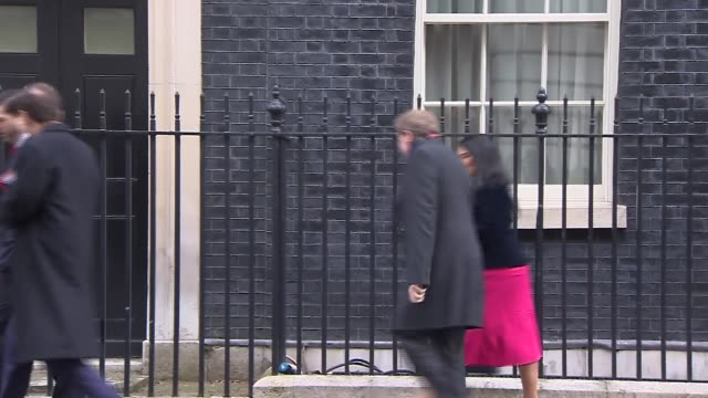 cabinet departures; england: london: downing streert: ext michael fallon mp departs / patrick mclouglin mp departs / robert halfon mp departure /... - baroness stock videos & royalty-free footage