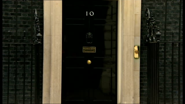 london downing street ext alistair carmichael mp departing number 10 / theresa villiers mp / sir george young / patrick mcloughlin mp / jeremy hunt... - sir george young politician stock videos and b-roll footage