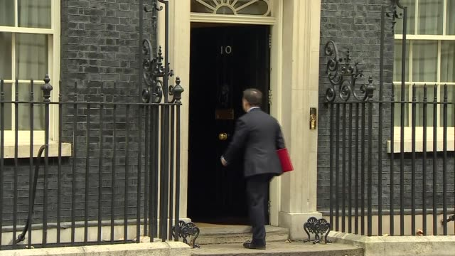 Arrivals and departures ENGLAND London Downing Street EXT Karen Bradley MP along and into Number 10 / Brandon Lewis MP arriving / Chris Grayling MP...