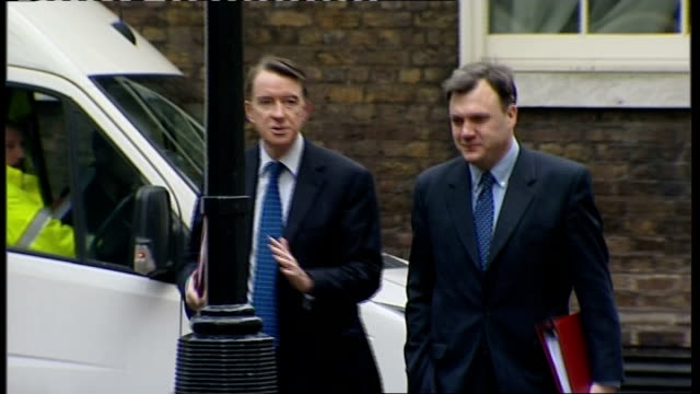 cabinet meeting arrivals and departures; lord mandelson and ed balls mp along as chatting and into number 10 - cabinet member stock videos & royalty-free footage