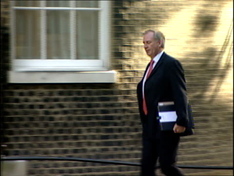 Cabinet meeting arrivals Geoff Hoon MP arriving on foot followed by John Hutton MP