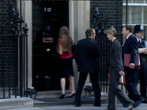 Cabinet meeting arrivals on 24 July 2007 John Denham MP Ed Balls MP and Yvette Cooper MP along into number 10 PAN as Alan Johnson MP into number 10