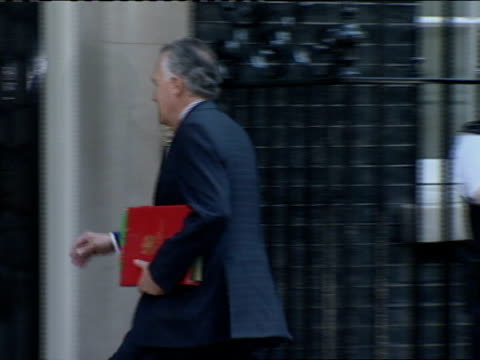 cabinet meeting arrivals on 24 july 2007; peter hain mp along and into number 10 to douglas alexander mp along and into number 10 - douglas alexander stock videos & royalty-free footage