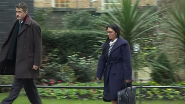 cabinet meeting arrivals priti patel mp arriving at number 10 with man - priti patel stock-videos und b-roll-filmmaterial